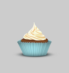 delicious cupcake with cream in the turquoise cup vector image vector image