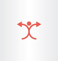 man with arrow hands icon vector image