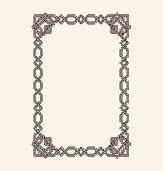 old vintage frame with cut angles and thin swirls vector image