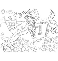 princess rapunzel in the stone tower coloring for vector image vector image