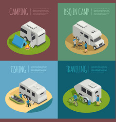 recreational vehicles concept icons set vector image vector image