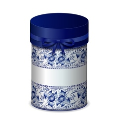 Round gift box with bow and blue pattern in Gzhel vector image