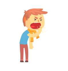 sick boy character coughing with fist in front of vector image vector image
