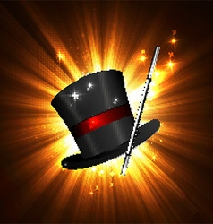 wand and magical hat vector image vector image