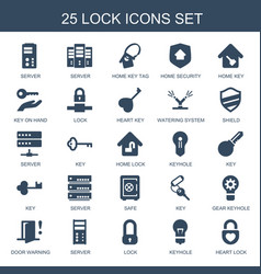 25 lock icons vector image