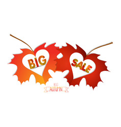 Autumn leaves with hearts isolated on white vector