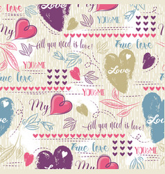 background with red and blue valentine heart vector image