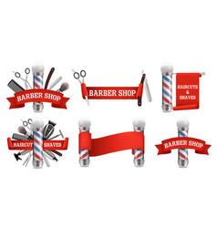 barbershop logo label emblem set vector image
