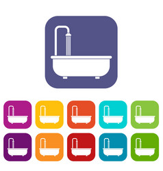 bathroom icons set flat vector image