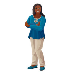 Beautiful afro-american woman in blue blouse vector