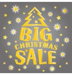 Big christmas sale with tree and stars vector