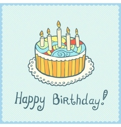 Birthday card with cake on blue textured vector