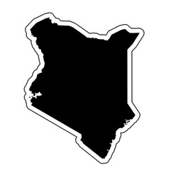 black silhouette of the country kenya with the vector image