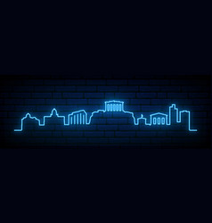 blue neon skyline athens bright athens city vector image