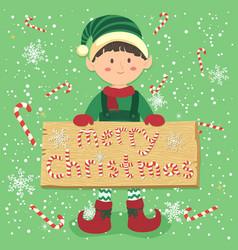 Board candy cane christmas elf boy vector