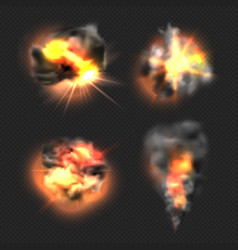 Bomb explosion exploded fire flame and smoke vector