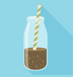 Bottle of chocolate milkshake with straw icon vector