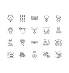 Bridal shop line icons signs set outline vector