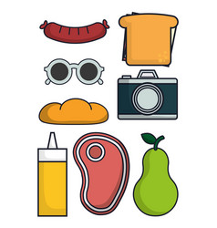 Camera and food icons vector