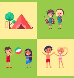 camp children playing outdoors poster vector image