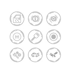 car key repair tools and manual gearbox icons vector image