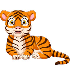 cartoon funny tiger isolated on white background vector image