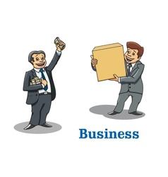 Cartoon happy businessmen characters vector image