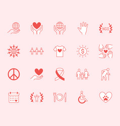 Charity flat line icons set donation nonprofit vector