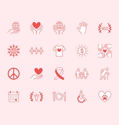 charity flat line icons set donation nonprofit vector image