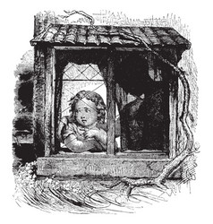 child in window widely used in ancient vintage vector image
