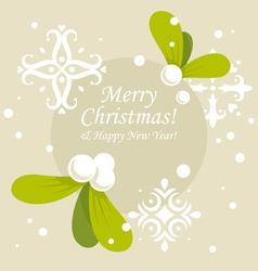 Christmas mistletoe card vector
