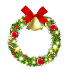 Christmas Wreath With Hand Bells vector image
