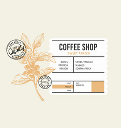 coffee package with text and coffee branch vector image
