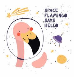 Cute flamingo in space vector