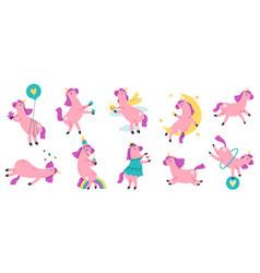cute unicorns funny hand drawn rainbow unicorns vector image
