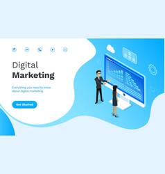digital marketing people on conference website vector image