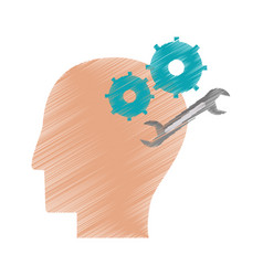 Drawing profile head gear spanner repair vector