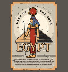 Egypt land of gods and pyramids historic museum vector