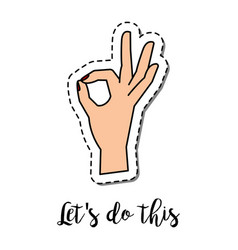 fashion patch element hand ok gesture vector image vector image