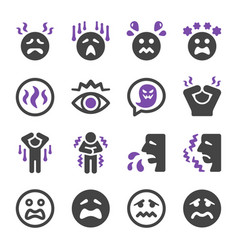 fear icon set vector image