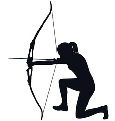 Female archer with bow and arrow vector image