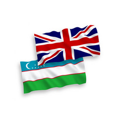 Flags great britain and uzbekistan on a white vector