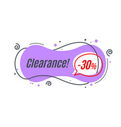 Flat linear promotion banner shape price tag vector
