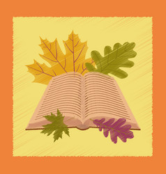 flat shading style icon open book leaves vector image