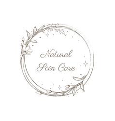 Floral mystic logo design handdrawn blossom herbs vector