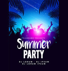 flyer poster design template summer beach party vector image