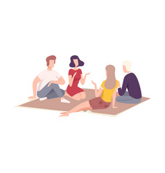 friends having picnic in park people relaxing vector image