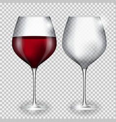 Full and Empty Glass of Wine on Transparent vector image
