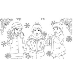 funny kids singing for christmas coloring book vector image