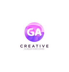 Ga initial logo with colorful circle template vector